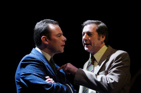 Andrew Lancel as Brian Clough and Tony Bell as Peter Taylor. Photography by Malcolm I. Johnson