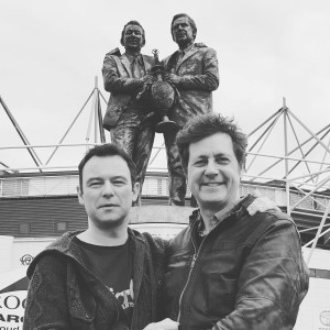 Andrew Lancel & Tony Bell outside Derby Country F.C Pride Park Stadium