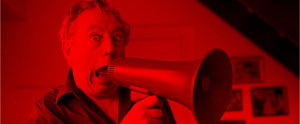 Terry Jones with a Save Red Ladder megaphone